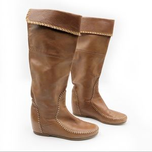 Jack Rogers Tall Leather Moccasin Boots Knee High
